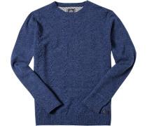 Pullover Merinowolle saphirblau meliert