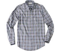 Herren Hemd Regular Fit Baumwolle marine-oliv kariert blau