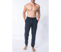 Herren Schlafanzug Pyjamahose Baumwolle navy blau