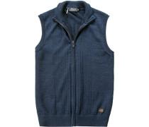 Pullover Strickweste, Merinowolle, dunkelblau meliert