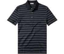 Herren Polo-Shirt Polo Baumwoll-Jersey graublau-navy gestreift