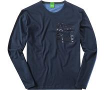 T-Shirt Longsleeve Modern Fit Baumwolle navy-bleu
