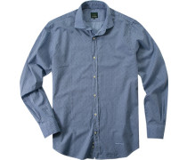 Hemd, Popeline, hellblau-marine gemustert