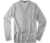 Herren Pullover Merino-Seiden-Mix grau meliert