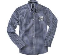 Herren Hemd Button-Down Baumwolle blau-weiß kariert blau,weiß