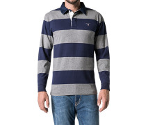 Herren Polo-Shirt Polo Baumwoll-Jersey grau-marine gestreift blau