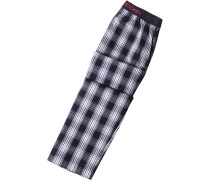 Schlafanzug Pyjamahose Baumwolle marine-weiß kariert