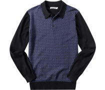 Herren Strick-Polo-Shirt Baumwolle navy gemustert blau