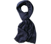 Schal Wolle marineblau-wollweiß gemustert