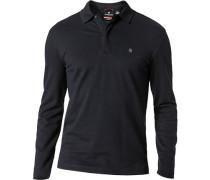Polo-Shirt Zip-Polo, Baumwoll-Piqué, marineblau