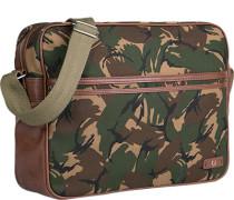 Herren Tasche FRED PERRY Umhängetasche Canvas-Kunstleder-Mix camouflage grün