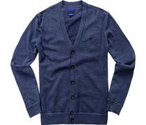 Herren Cardigan Modern Fit Baumwolle jeansblau