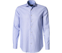 Hemd Slim Fit Oxford bleu-weiß gestreift