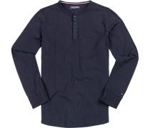 T-Shirt Longsleeve, Baumwolle, navy meliert