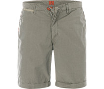 Hose Shorts Regular Fit Baumwolle khaki gestreift