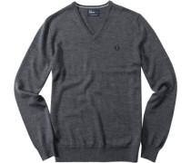 Pullover Merinowolle graphit meliert