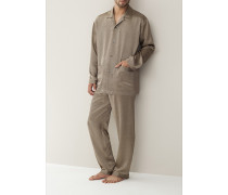 Schlafanzug Pyjama Seide schwarz-gold