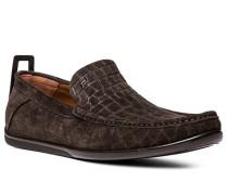 Herren Schuhe Slipper Veloursleder dunkelbraun braun,braun
