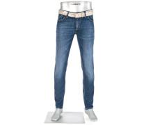 Herren Blue-Jeans Slim Fit Baumwoll-Stretch denim blau