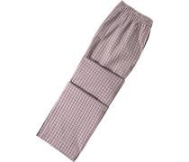 Schlafanzug Pyjamahose Baumwolle -weiß kariert