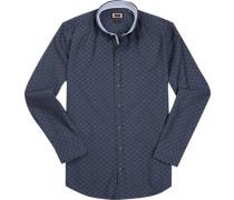 Hemd, Modern Fit, Popeline, navy gemustert