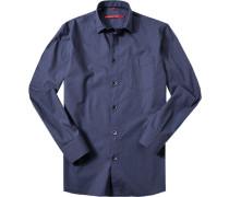 Herren Hemd Classic Fit Baumwoll-Mix indigo gemustert blau