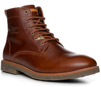 Schuhe Schnürstiefel Leder Lammfell gefüttert haselnussbraun