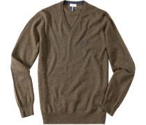 V-Pullover Merinowolle khaki meliert