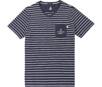 T-Shirt Baumwolle navy-weiß gestreift
