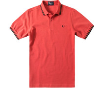 Herren Polo-Shirt Polo Slim Fit Baumwoll-Piqué karmesinrot