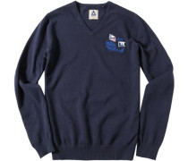 Herren Pullover Pulli Baumwolle navy blau