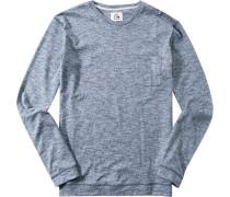 Herren Pullover Baumwoll-Mix blau meliert