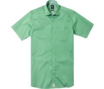 Herren Hemd Modern Fit Popeline grün gemustert