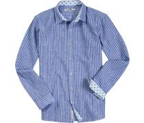 Hemd Leinen-Baumwolle blau- gestreift