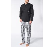 Schlafanzug Pyjama Baumwolle -weiß kariert
