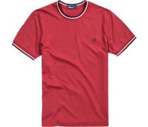T-Shirt Baumwolle barolo meliert