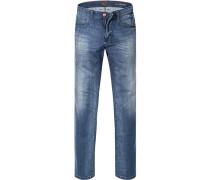 Jeans Straight Fit Baumwoll-Stretch denim