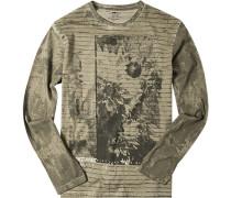T-Shirt Longsleeve Baumwolle khaki-dunkelgrün gemustert