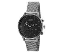 Herren Uhren  Chronograph Edelstahl schwarz-silber grau
