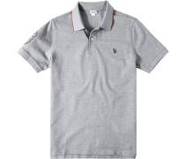 Herren Polo-Shirt Polo Baumwoll-Piqué grau meliert