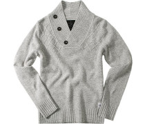 Pullover Troyer Lammwollmischung hellgrau meliert