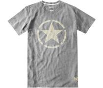 T-Shirt Oberteil Baumwolle hellgrau meliert