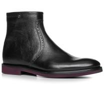 Herren Schuhe Stiefeletten Kalbleder schwarz schwarz,schwarz