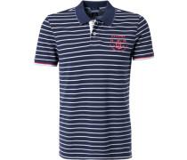 Polo-Shirt Polo Baumwolle navy gestreift
