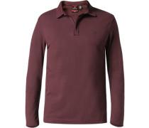 Herren Zip-Polo-Shirt Baumwoll-Piqué bordeaux rot
