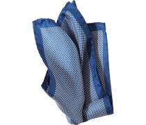Accessoires Einstecktuch Seide royalblau-weiß gepunktet