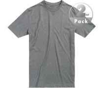 T-Shirts Regular Fit Baumwolle helllgrau meliert