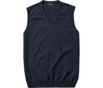 Herren Pullover Pullunder Merinowolle navy blau