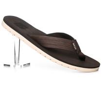 Schuhe Zehensandalen Lederimitat dunkelbraun