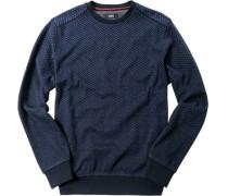 Herren Pulli Baumwolle dunkel- und jeansblau gemustert